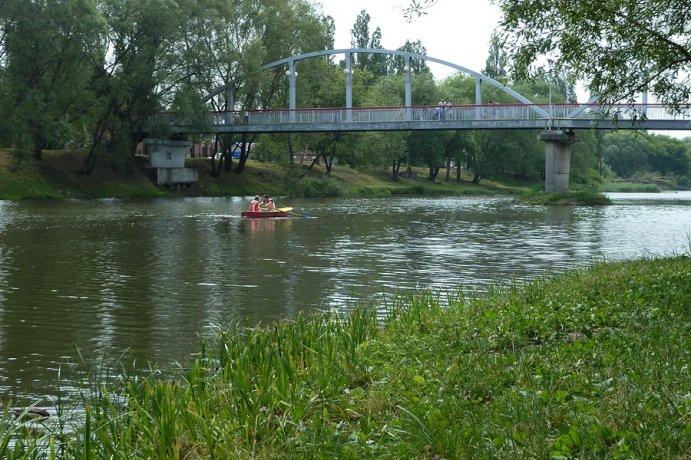 Пешеходный мост в парке Победы
